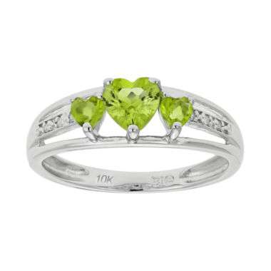 jcpenney.com | Genuine Peridot & Diamond-Accent Heart-Shaped 3-Stone 10K White Gold Ring