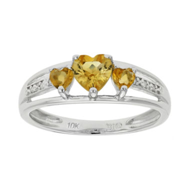 jcpenney.com | Genuine Citrine & Diamond-Accent Heart-Shaped 3-Stone 10K White Gold Ring