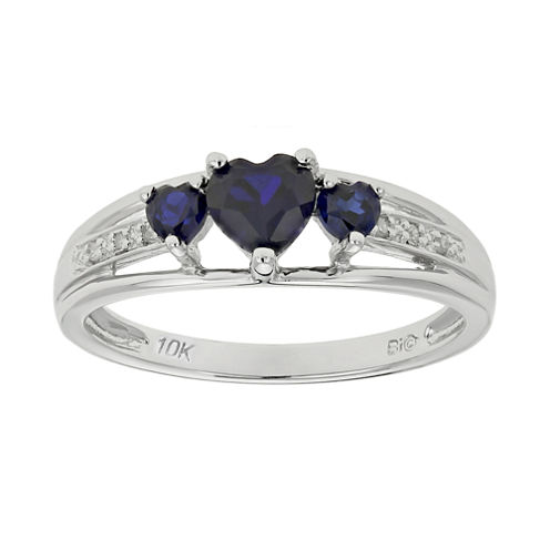 Lab-Created Sapphire & Diamond-Accent Heart-Shaped 3-Stone 10K White Gold Ring
