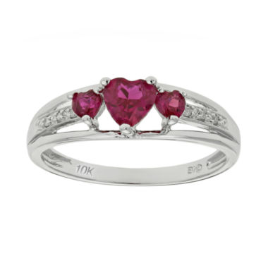 jcpenney.com | Lab-Created Ruby & Diamond-Accent Heart-Shaped 3-Stone 10K White Gold Ring