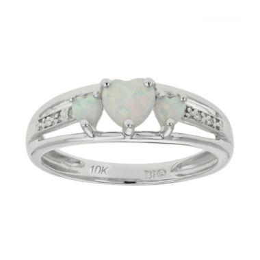 jcpenney.com | Lab-Created Opal& Diamond-Accent Heart-Shaped 3-Stone 10K White Gold Ring