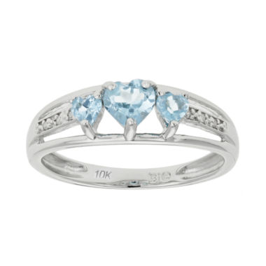 jcpenney.com | Lab-Created Aquamarine & Diamond-Accent Heart-Shaped 3-Stone 10K White Gold Ring