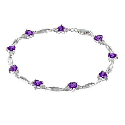 Genuine Amethyst Heart-Shaped Sterling Silver Bracelet