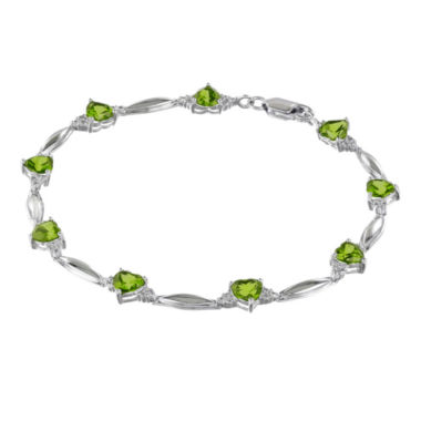 jcpenney.com | Genuine Peridot Heart-Shaped Sterling Silver Bracelet