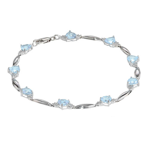 Lab-Created Aquamarine Heart-Shaped Sterling Silver Bracelet