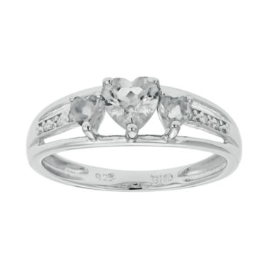 jcpenney.com | Genuine White Topaz Heart-Shaped 3-Stone Sterling Silver Ring