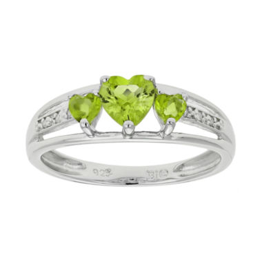 jcpenney.com | Genuine Peridot & Diamond-Accent Heart-Shaped 3-Stone Sterling Silver Ring