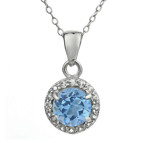 Faceted Simulated Aquamarine & White Topaz Sterling Silver Pendant Necklace