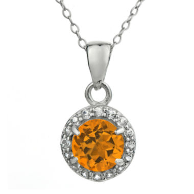 jcpenney.com | Faceted Genuine Citrine & White Topaz Sterling Silver Pendant Necklace