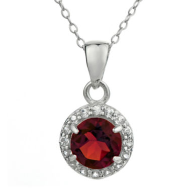 jcpenney.com | Faceted Genuine Garnet & White Topaz Sterling Silver Pendant Necklace