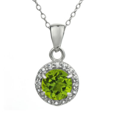 jcpenney.com | Faceted Genuine Peridot & White Topaz Sterling Silver Pendant Necklace