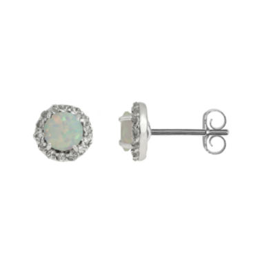 jcpenney.com | Faceted Lab-Created Opal & White Topaz Sterling Silver Stud Earrings