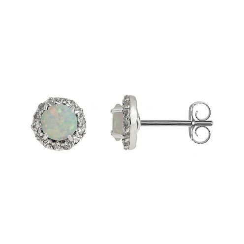 Faceted Lab-Created Opal & White Topaz Sterling Silver Stud Earrings