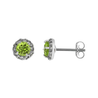 jcpenney.com | Faceted Genuine Peridot & White Topaz Sterling Silver Stud Earrings
