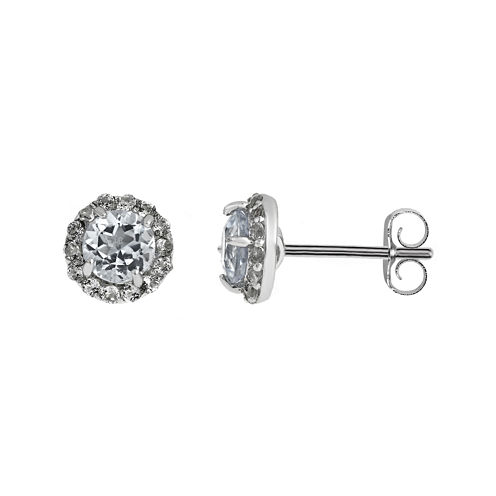 Faceted Genuine White Topaz Sterling Silver Stud Earrings