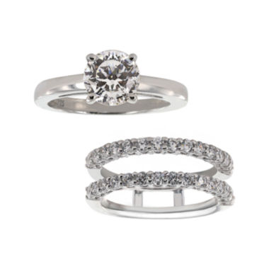 jcpenney.com | DiamonArt® Cubic Zirconia Solitaire Ring with Ring Guard Insert