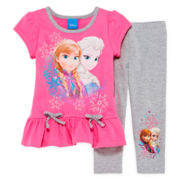 Disney Frozen 2-pc. Short-Sleeve Top and Leggings Set - Girls 2t-4t