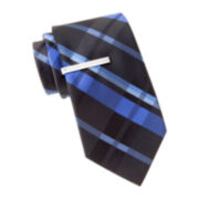 JF J. Ferrar® Charlie Plaid Tie and Tie Bar Set - Slim