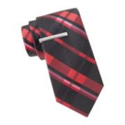 JF J. Ferrar® Charlie Plaid Tie and Tie Bar Set - Slim