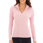 Liz Claiborne® Split-Neck Cable Sweater - Tall