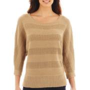 Liz Claiborne® 3/4-Sleeve Stitched Sweater - Tall