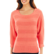 Liz Claiborne® 3/4-Sleeve Stitched Sweater - Tall