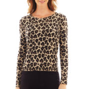 Liz Claiborne Long-Sleeve Animal Print Sweater