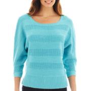 Liz Claiborne® 3/4-Sleeve Stitched Sweater