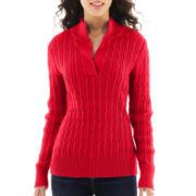 Liz Claiborne Long-Sleeve Split-Neck Sweater - Petite