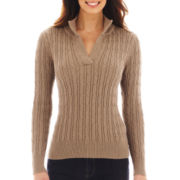 Liz Claiborne Long-Sleeve Split-Neck Sweater