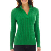 Liz Claiborne® Long-Sleeve Split-Neck Sweater