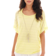 Alyx® Short-Sleeve Scoopneck Top with Necklace