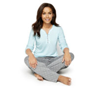 Liz Claiborne® Long-Sleeve Top and Pants Pajama Set
