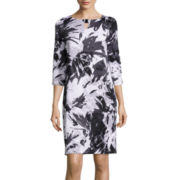 Black Label by Evan-Picone 3/4-Sleeve Floral Shift Dress