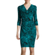 Black Label by Evan-Picone 3/4-Sleeve Floral Sheath Dress