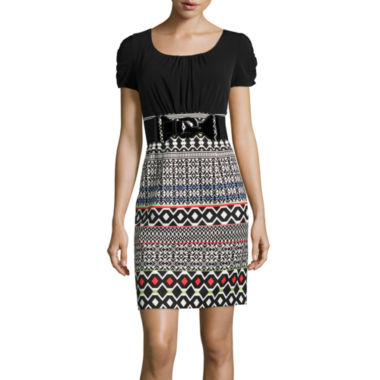 jcpenney.com | Alyx® Short-Sleeve Belted Geometric Print Sheath Dress