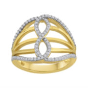 1/3 CT. T.W. Diamond 14K Yellow Gold Over Sterling Silver Open Filigree Ring