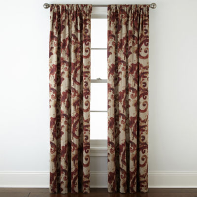 Home Expressions™ Tuscany Scroll Room-Darkening Rod-Pocket Curtain ...