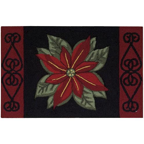 Nourison® Poinsettia Hand-Hooked Rectangular Rug