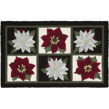 jcpenney.com | Nourison® Red and White Poinsettia Hand-Hooked Rectangular Rug