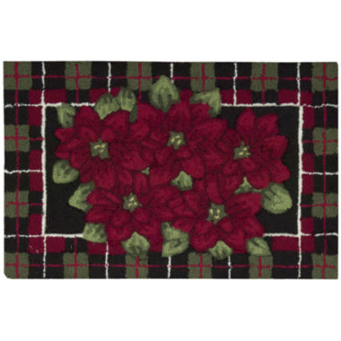 jcpenney.com | Nourison® Plaid Poinsettia Hand-Hooked Rectangular Rug