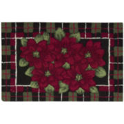 Nourison® Plaid Poinsettia Hand-Hooked Rectangular Rug