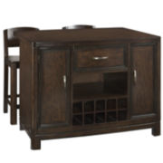 Dover Kitchen Island with 2 Barstools