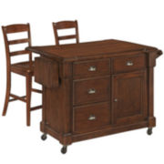 Redford Kitchen Cart with 2 Barstools