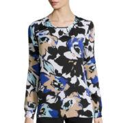 Liz Claiborne® Long-Sleeve Floral Print Blouse