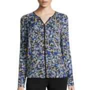 Liz Claiborne® Long-Sleeve Tipped Print Blouse