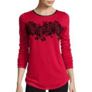 Worthington® Long Sleeve Flocked T-Shirt