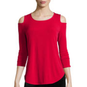 Worthington® 3/4-Sleeve Cold-Shoulder Top