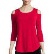Worthington® 3/4-Sleeve Cold-Shoulder Top