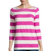 St. John's Bay® 3/4-Sleeve Jeweled Boatneck T-Shirt- Petite